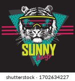 black and white tiger head in... | Shutterstock .eps vector #1702634227