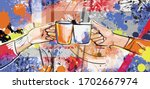 tea party coffee and hands.... | Shutterstock .eps vector #1702667974