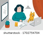 a freelancer girl works in a...   Shutterstock .eps vector #1702754704