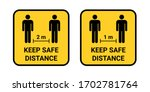 keep safe distance sign. social ... | Shutterstock .eps vector #1702781764