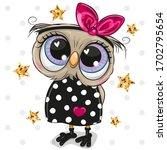 cute cartoon owl on a dots... | Shutterstock .eps vector #1702795654