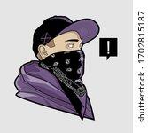 line art of gangster young man... | Shutterstock .eps vector #1702815187
