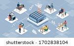professional teleworkers... | Shutterstock .eps vector #1702838104