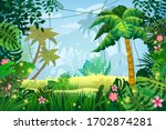 jungle tropical forest palms... | Shutterstock .eps vector #1702874281