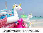 colorful unicorn inflatable... | Shutterstock . vector #1702923307