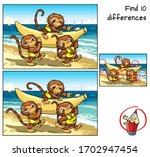 three little monkeys are going... | Shutterstock .eps vector #1702947454
