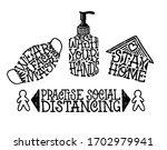 virus prevention lettering set. ... | Shutterstock .eps vector #1702979941