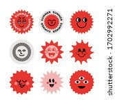 a set of stickers. the sun ... | Shutterstock .eps vector #1702992271