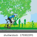 man riding a bike in the park | Shutterstock .eps vector #170302391