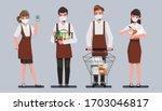 staff people wear a face mask ...   Shutterstock .eps vector #1703046817