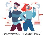 pair of young  modernly dressed ... | Shutterstock .eps vector #1703081437