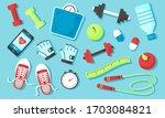 fitness equipments sport... | Shutterstock .eps vector #1703084821