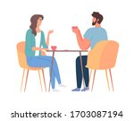 young couple sitting at dining... | Shutterstock .eps vector #1703087194