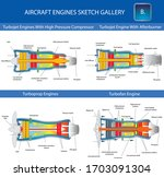 turbojet  turboprop and...   Shutterstock .eps vector #1703091304