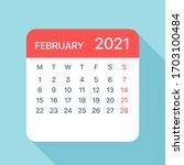 february 2021 calendar leaf  ... | Shutterstock .eps vector #1703100484