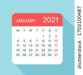 january 2021 calendar leaf  ... | Shutterstock .eps vector #1703100487