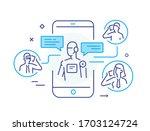 robot social media vlog.... | Shutterstock .eps vector #1703124724