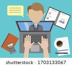 work online. video conference... | Shutterstock .eps vector #1703133067