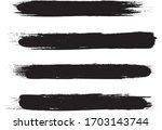 black brush stroke set isolated ... | Shutterstock .eps vector #1703143744