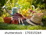 gardening tools and a straw hat ... | Shutterstock . vector #170315264