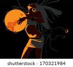 the ethnic girl dances | Shutterstock .eps vector #170321984