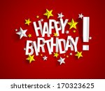 happy birthday card with blue... | Shutterstock .eps vector #170323625