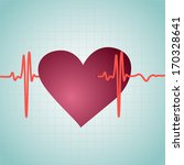healthy heart with cardiogram ... | Shutterstock .eps vector #170328641