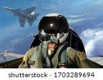 Fighter pilots cockpit view...