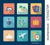 Vector Travel Flat Icons. Set 3