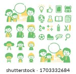 teacher and parent and child... | Shutterstock .eps vector #1703332684