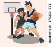 basketball players. tense... | Shutterstock .eps vector #1703334931