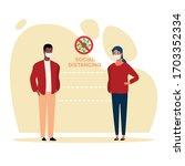 interracial couple using face... | Shutterstock .eps vector #1703352334