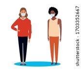 interracial women using face... | Shutterstock .eps vector #1703352667