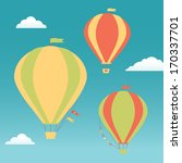 three hot air balloons in the... | Shutterstock . vector #170337701