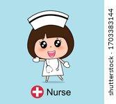 cartoon character nurse design  ... | Shutterstock .eps vector #1703383144