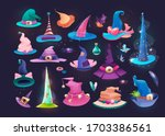 set of wizard hats  old hat... | Shutterstock .eps vector #1703386561