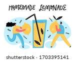 little people put lemons to... | Shutterstock .eps vector #1703395141