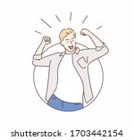 happy and excited young... | Shutterstock .eps vector #1703442154
