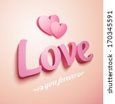 realistic pink love sign with... | Shutterstock .eps vector #170345591