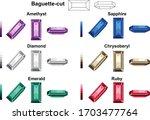 baguette cut amethyst sapphire... | Shutterstock .eps vector #1703477764