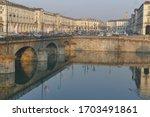 Turin – Vittorio Emanuele bridge crossing the Po river with Vittorio Veneto square in the background.