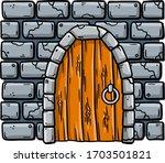 Door Of Fairy Tale Castle And...