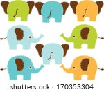 blue and orange elephants  boy  | Shutterstock .eps vector #170353304