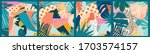 colorful flowers and leaves... | Shutterstock .eps vector #1703574157