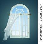 open window billowing curtains... | Shutterstock .eps vector #1703581474