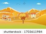autumn countryside golden color ... | Shutterstock .eps vector #1703611984