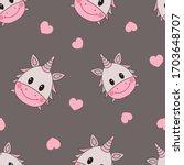 cute kawaii unicorn and heart... | Shutterstock .eps vector #1703648707