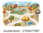 autumn city park flat... | Shutterstock .eps vector #1703677987