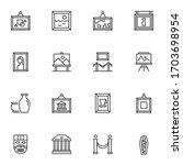 museum exhibits line icons set. ... | Shutterstock .eps vector #1703698954