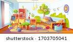 mess in kids room  messy empty... | Shutterstock .eps vector #1703705041